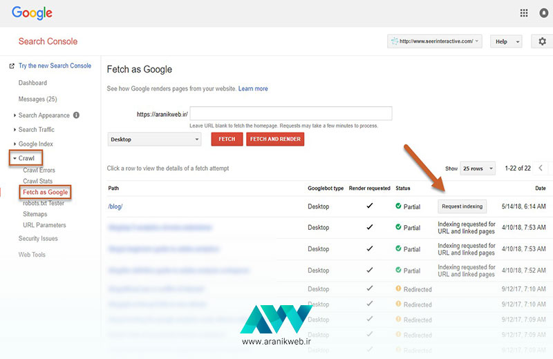 Fetch as Google و Fetch and Render / آموزش Fetch and Render
