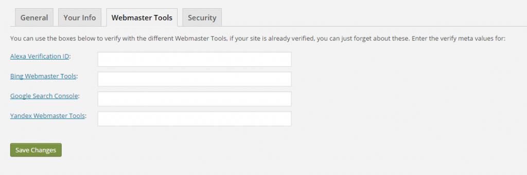 جایی که می توانید ابزارهای مدیر وب سایت خود را در تنظیمات Yoast تأیید کنید