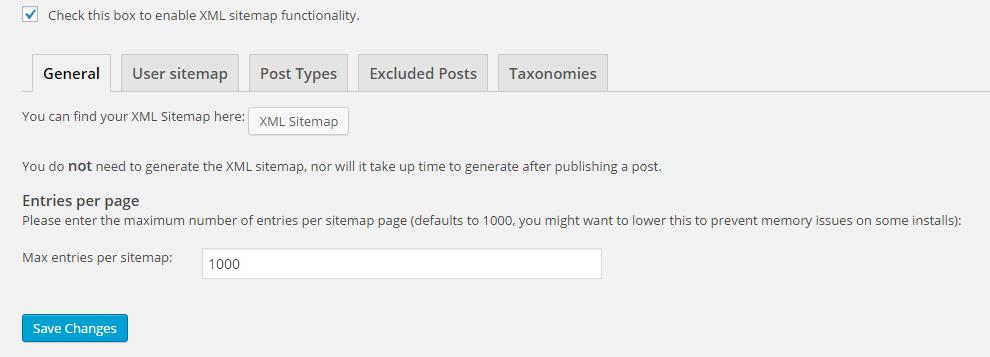 """برگه """"عمومی"""" در بخش نقشه های سایت XML"""
