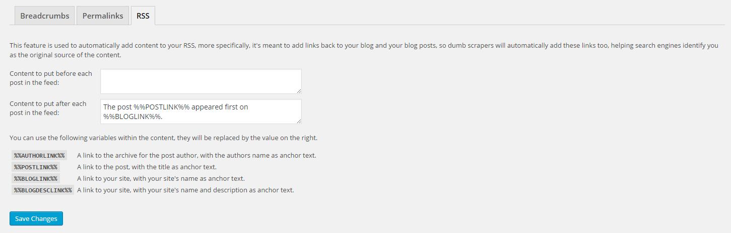 """برگه """"RSS"""" تنظیمات پیشرفته برای Yoast SEO"""