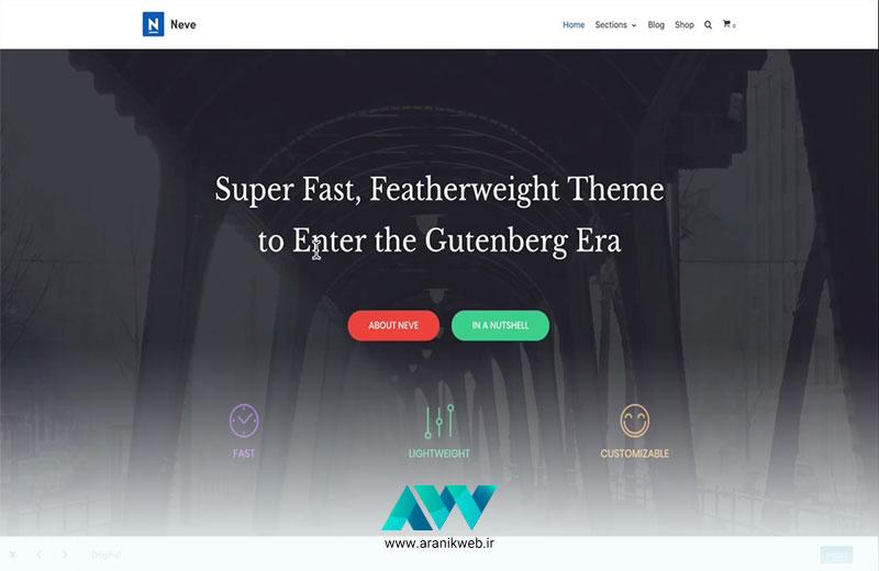قالب طراحی سایت NEVE