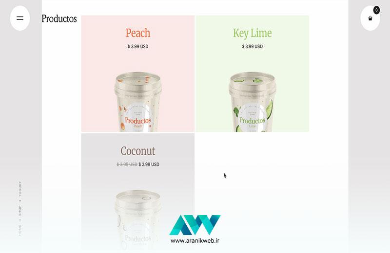 Productos یک قالب سایت فروشگاهی با طراحی رنگ بسیار ملایم است