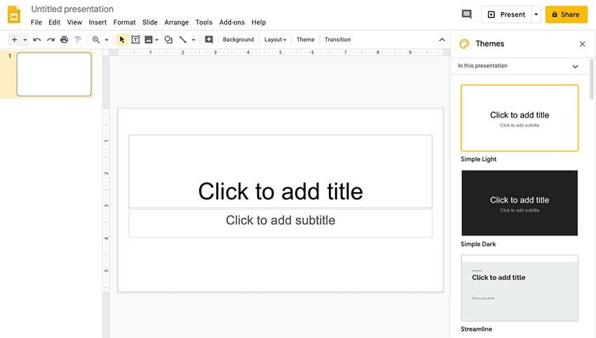 قدم سوم: انتخاب تم مناسب ارائه در گوگل اسلاید